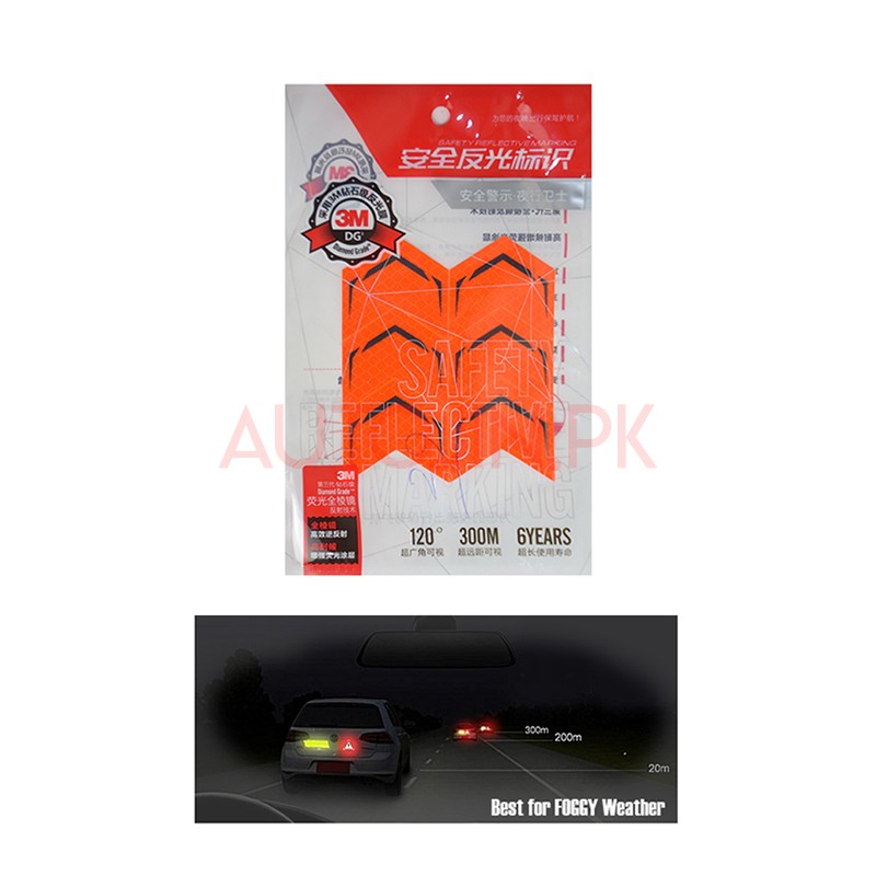 Car Rear Bumper Reflector Sticker Orange