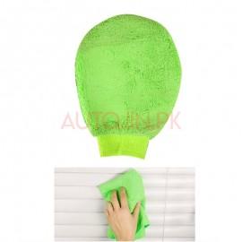Microfibre cloth oval glove green